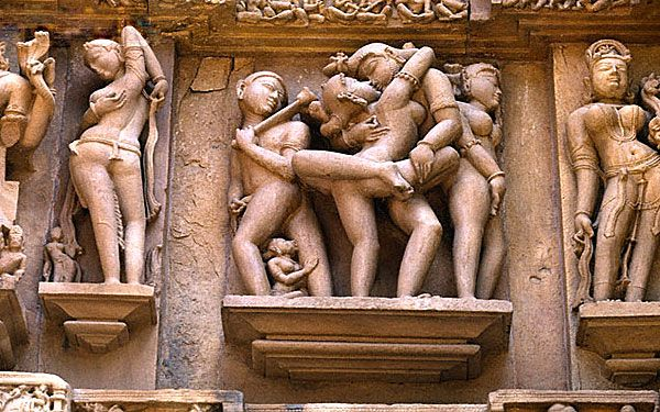 sexual sculptures outside symbolizes sexual desires of men and women