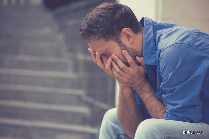 stressed sad crying man